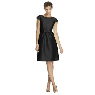 Alfred Sung Peau de Soie Bateau Neck Cocktail Length Dress with Bow (More options available)