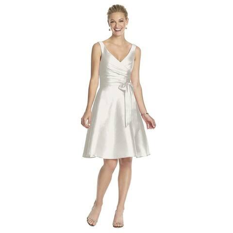 Alfred Sung Peau de Soie Circle Skirt V-neck Cocktail Length Dress