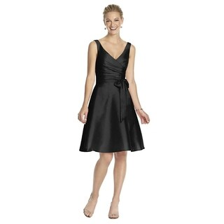 Alfred Sung Peau de Soie Circle Skirt V-neck Cocktail Length Dress