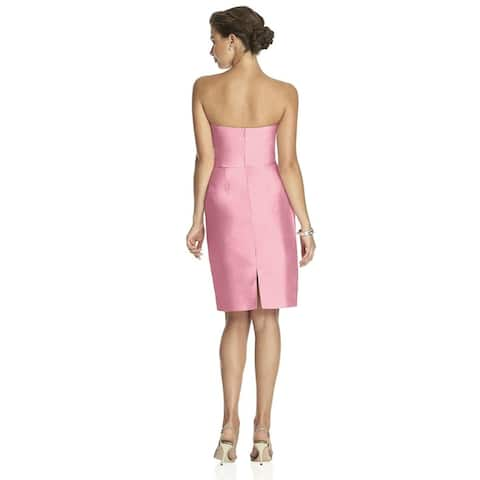 Alfred Sung Peau de Soie Draped Detail Strapless Cocktail Length Dress