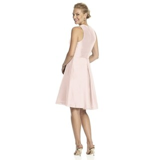 Alfred Sung Dupioni V-neck Inset Waistband Length Cocktail Dress