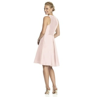 Alfred Sung Dupioni V-neck Inset Waistband Length Cocktail Dress (More options available)