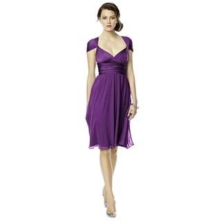 Dessy Jersey and Chiffon Twist Wrap Short Dress