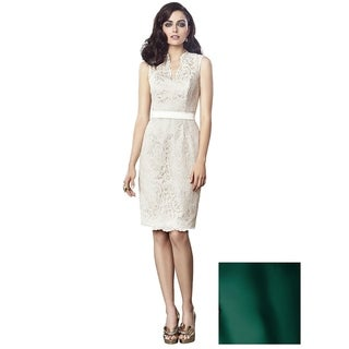 Dressy Lace and Matte Satin Sleeveless Cocktail Length Dress