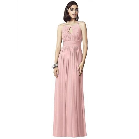 Dessy Lux Chiffon Draped Bodice Full Length Dress