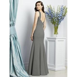 Dessy Crepe Bateau Neckline Low Back Sleeveless Full Length Dress