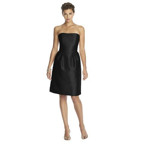 Alfred Sung Dupioni Strapless Cocktail Length Dress