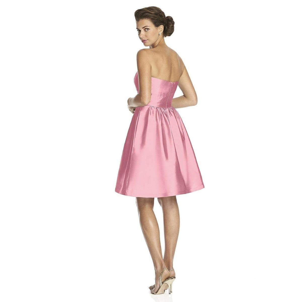 Alfred Sung Womens Strapless Cocktail Length Peau De Soie Dress by Italian Plum Size 12
