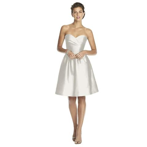 Alfred Sung Peau de Soie Strapless Cocktail Length Dress