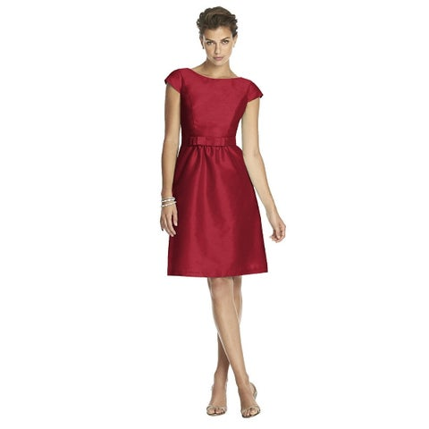 Alfred Sung Dupioni Bateau Neck Cocktail Length Dress with Bow