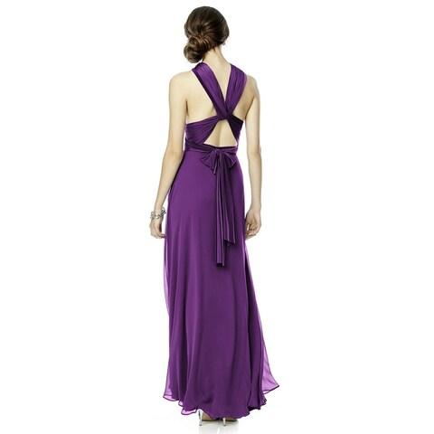 Dessy Jersey and Chiffon Twist Wrap Long Dress