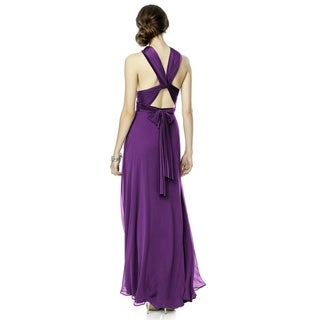 Dessy Jersey and Chiffon Twist Wrap Long Dress