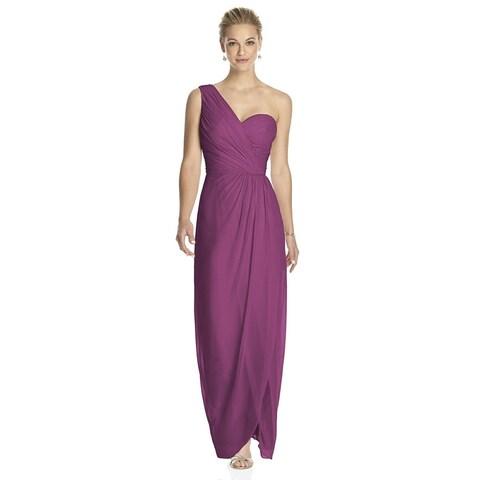 Dessy Draped Bodice and Shirred Skirt One-shoulder Full Length Dress