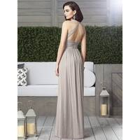 Dessy Lux Chiffon Modified V-neck Halter Full Length Dress