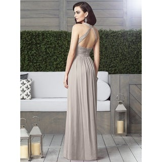 Dessy Lux Chiffon Modified V-neck Halter Full Length Dress