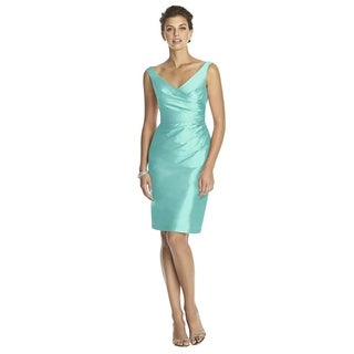 Alfred Sung Peau de Soie V-neck Sleeveless Cocktail Length Dress (More options available)