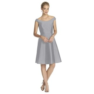 Alfred Sung Peau de Soie Belt Off the Shoulder Cocktail Length Dress