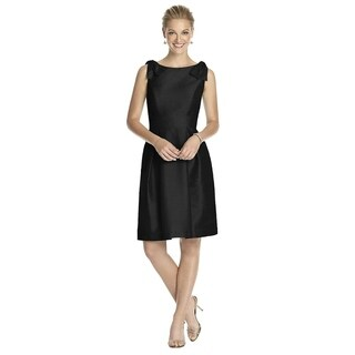Alfred Sung Dupioni Shoulder Bow Sleeveless Cocktail Length Dress