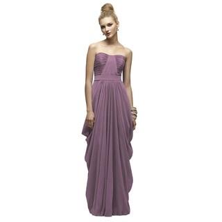 Lela Rose Smashing Purple Chiffon Strapless Full Length Dress