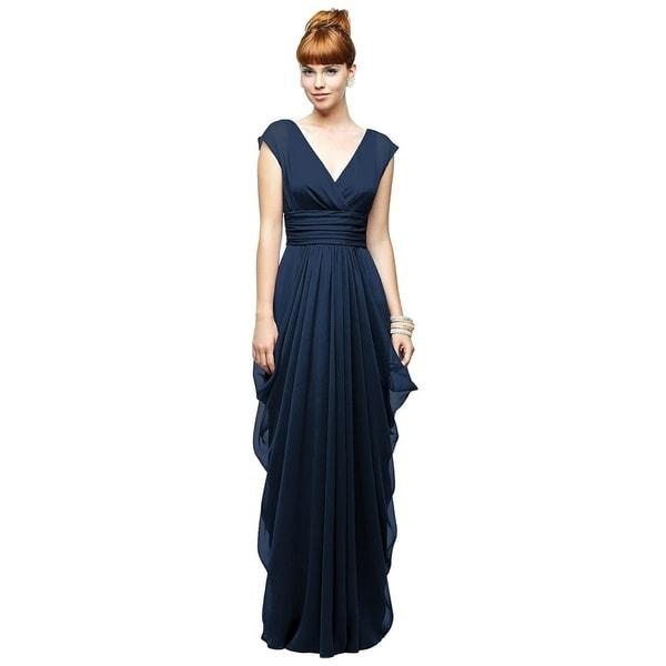 388470a50a7 Shop Lela Rose Chiffon Draped V-neck Cap Sleeve Full Length Dress ...