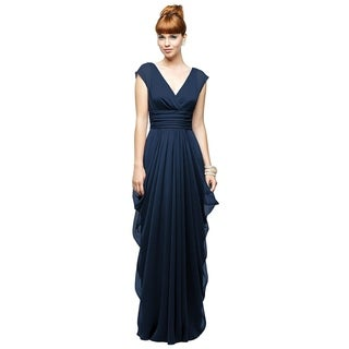 Lela Rose Chiffon Draped V-neck Cap Sleeve Full Length Dress