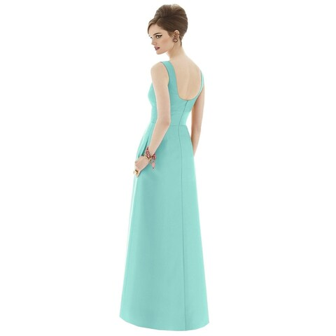 Alfred Sung Sateen Twill Sweetheart Neck Sleeveless Full Length Dress