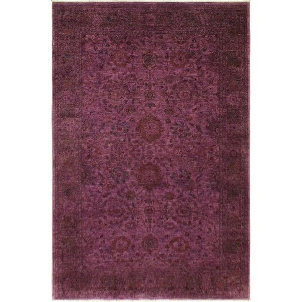 Overdyed Color Reform Crystle Purple Red Area Rug 6 Ft 2 In