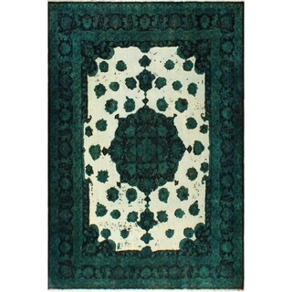 Vintage Distressed Overdyed  Riva Teal Blue/Ivory Wool Rug (9'7 x 12'10) - 9 ft. 7 in. x 12 ft. 10 in.