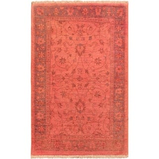 Overdyed Peshawar Cris Pink/Blue Area Rug (2'10 x 4'0) - 2 ft. 10 in. x 4 ft. 0 in.