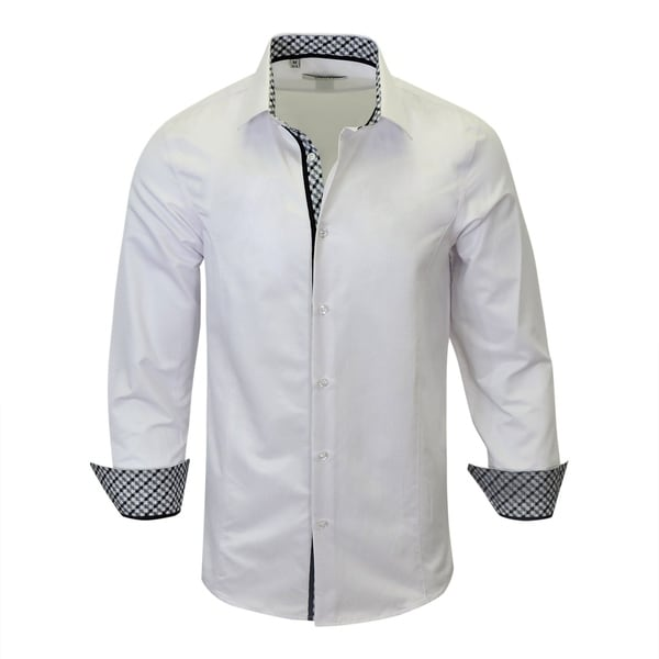 Shop Contreasted Modern-Fit Men s Dress Shirt From Monza - Free ... 43df4aaa0017