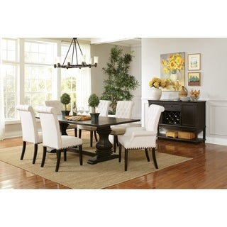 Parkins Traditional Rustic Espresso and White 7-piece Dining Set