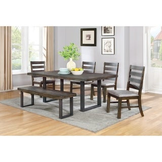 Murphy Rustic 6-piece Metal and Wood Dining Set with Bench