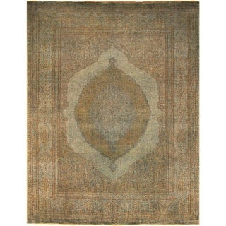 Vintage Distressed Overdyed Jenine Teal Green/Gold Wool Rug (9'0 x 11'8) - 9 ft. 0 in. x 11 ft. 8 in.