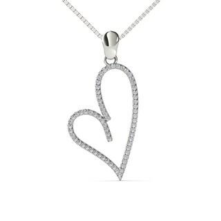 AALILLY 14k White Gold 1/5ct TDW Diamond Heart Pendant Necklace (H-I, I1-I2)