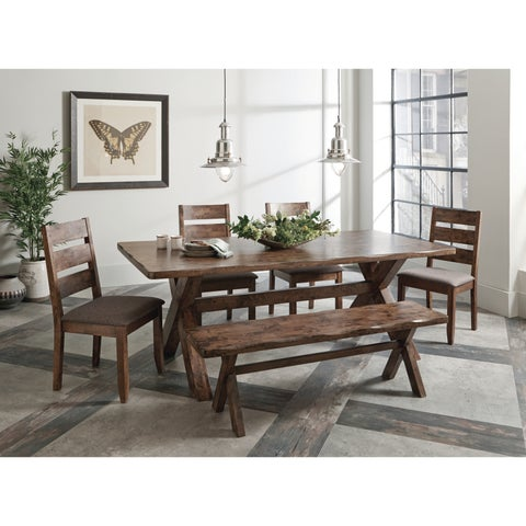 Alston Rustic 6-piece Wavy Edge Dining Set with Bench