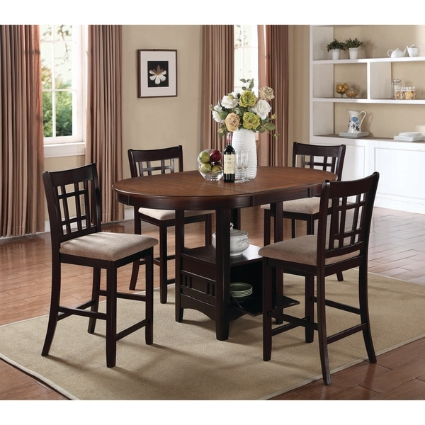 Shop Lavon Transitional Beige Espresso 5 Piece Counter Height Dining