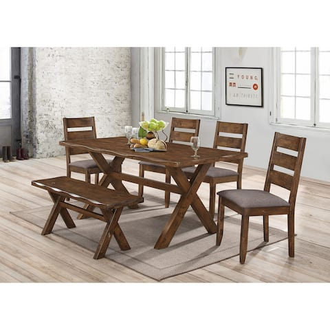 Alston Rustic 6 Piece Trestle Dining Set With Bench