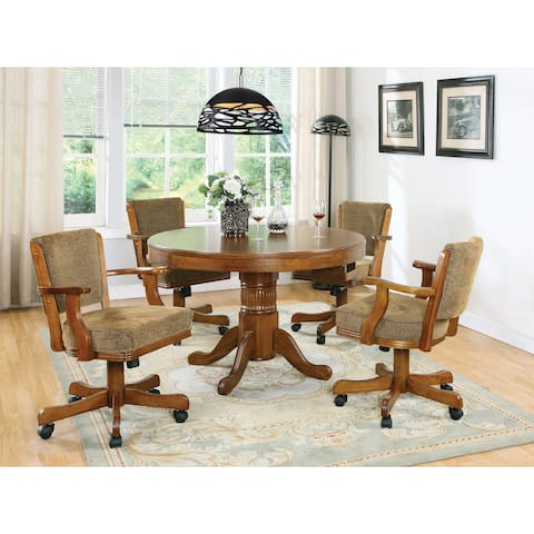 Mitchell Amber 5-piece 3-in-1 Game Table and 4-armchair Dining Set