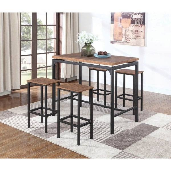 Shop Contemporary Chestnut 5 Piece Bar Set   Free Shipping Today    Overstock   21784447