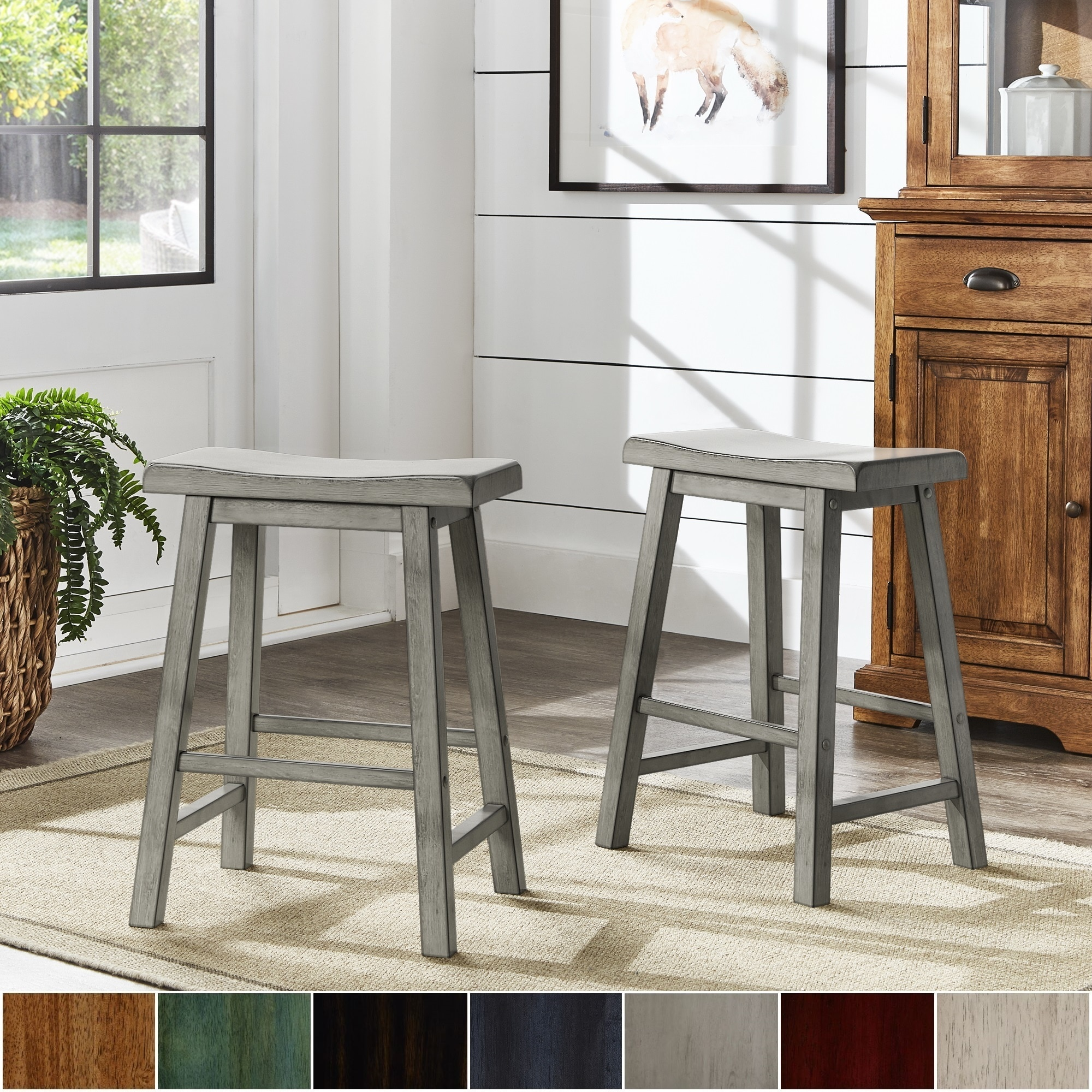 Salvador Ii Saddle Seat 24 Inch Counter Height Backless Stools Set