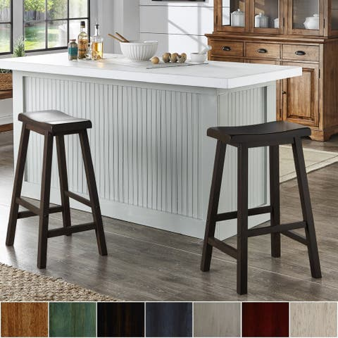 Salvador II Saddle Seat 29-inch Bar Height Backless Stools (Set of 2) by iNSPIRE Q Classic