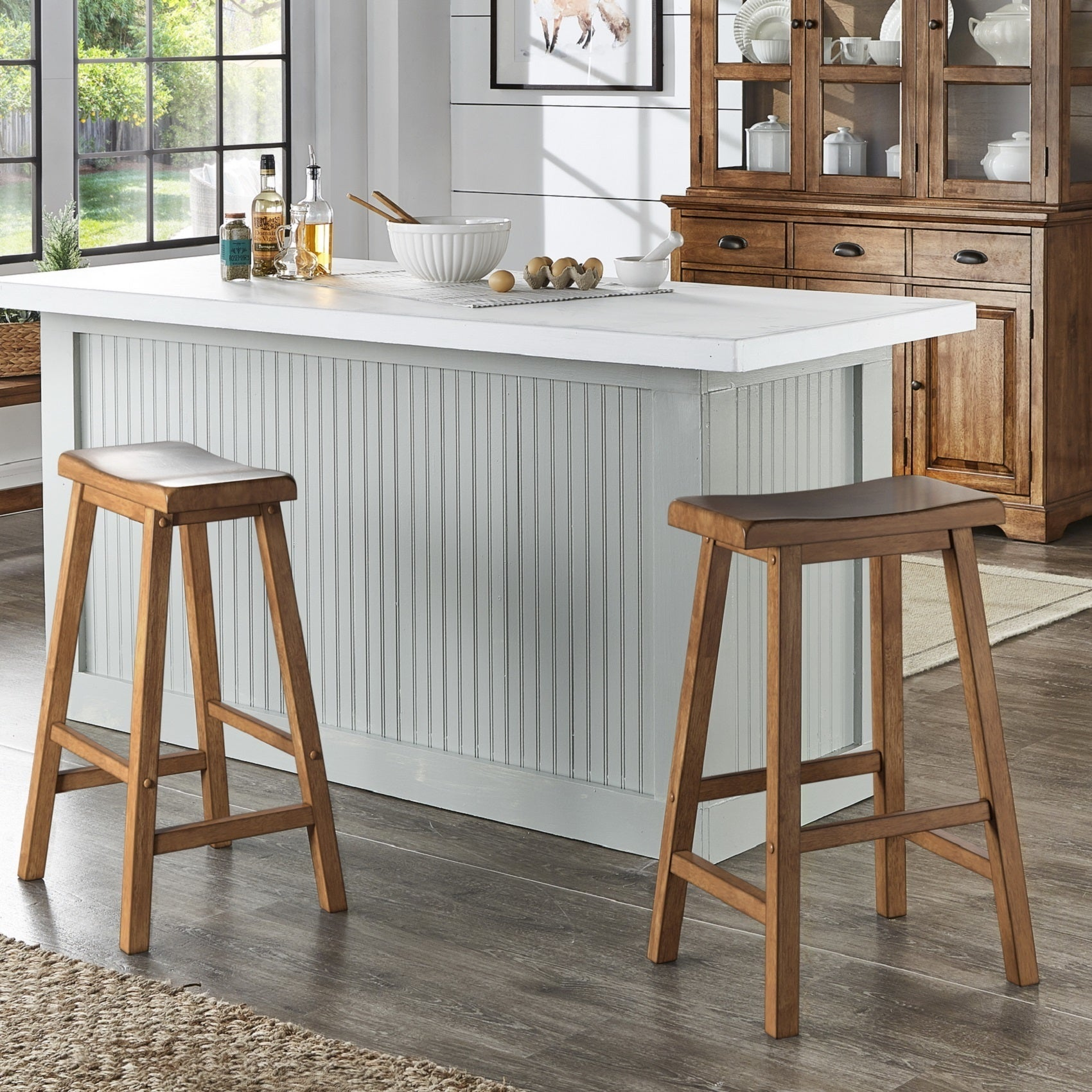 Salvador Ii Saddle Seat 29 Inch Bar Height Backless Stools Set Of 2 By Inspire Q Classic On Sale Overstock 21786004 Antique White
