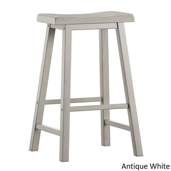 Salvador Ii Saddle Seat 29 Inch Bar Height Backless Stools Set Of 2 By Inspire Q Classic Overstock 21786004 Antique White