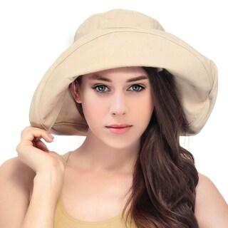 Women's Summer Cotton Bucket Beach Hat foldable Sun hat