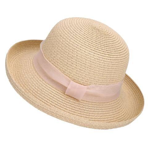 Lullaby Womens UPF 50, Structured Curved Wide Brim Bucket Straw Sun Hat