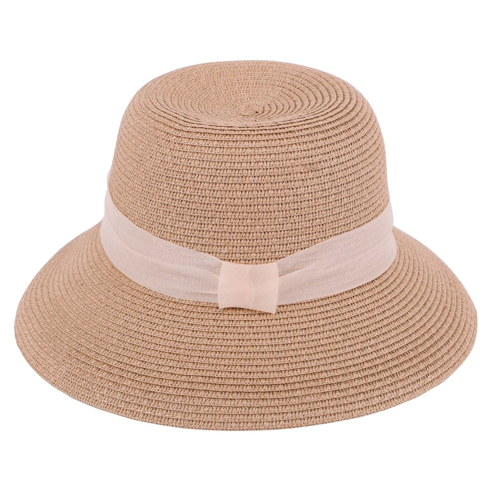Lullaby Womens Foldable UPF 50 Structured Curved Wide Brim Bucket Straw Sun Hat