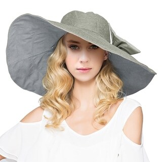 Women's Reversible Foldable Wide Brim Sun Hat with Bowknot UPF 50