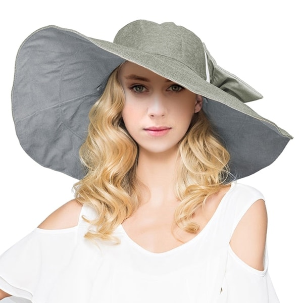 298528537dd10 Shop Women s Reversible Foldable Wide Brim Sun Hat with Bowknot UPF ...