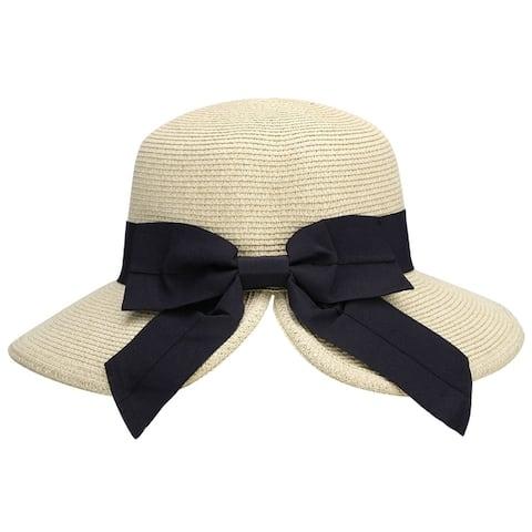AbbyLexi Women's Pretty Vintage Foldable Sun Visor Straw Hat w/ Bow