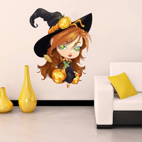 """Cute Witch Broom Haloween Full Color Wall Decal Sticker K-199 FRST Size 52""""x52"""""""